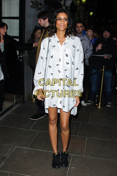 Aluna Francis of Alunageorge.Brits 2013 Nominations Party - Outside Arrivals, London, United Kingdom,.10th January 2013..full length white print dress shirt  numbers ankle boots black .CAP/CJ.©Chris Joseph/Capital Pictures.