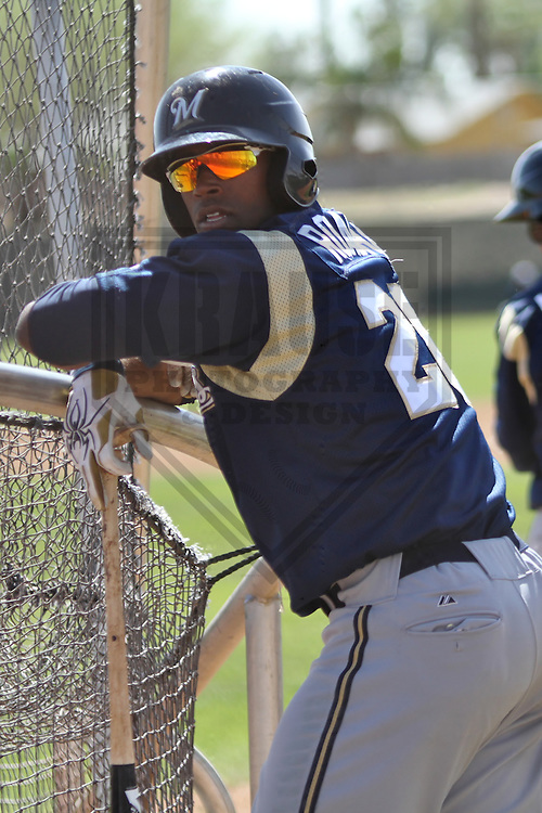 MARYVALE - March 2014: Victor Roache of the Milwaukee Brewers during a spring training workout on March 18th, 2014 at Maryvale Baseball Park in Maryvale, Arizona.  (Photo Credit: Brad Krause)
