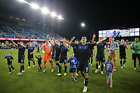 SAN JOSE, CA - AUGUST 24: Chris Wondolowski #8 of the San Jose Earthquakes celebrates after a Major League Soccer (MLS) match between the San Jose Earthquakes and the Vancouver Whitecaps FC  on August 24, 2019 at Avaya Stadium in San Jose, California.