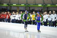 SCHAATSEN: HEERENVEEN: 24-01-2016, IJsstadion Thialf, NK Sprint, Jan Blokhuijsen, Antoinette de Jong,  ©foto Martin de Jong