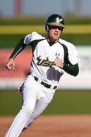 USF Bulls infielder/outfielder Luke Borders (4) running the bases during a game against the Alabama State Hornets on February 15, 2015 at Bright House Field in Clearwater, Florida.  USF defeated Alabama State 12-4.  (Mike Janes/Four Seam Images)