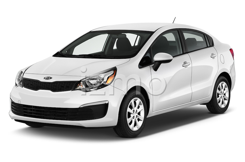 2016 KIA Rio LX-AT 4 Door Sedan Angular Front stock photos of front three quarter view