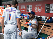 New York Mets shortstop Jose Reyes (7), right, smiles as he discusses his second home run of the game with shortstop Amed Rosario (1) during the eighth inning against the Washington Nationals at Nationals Park in Washington, D.C. on Wednesday, August 1, 2018.  The Nationals won the game 5 - 3.<br /> Credit: Ron Sachs / CNP<br /> (RESTRICTION: NO New York or New Jersey Newspapers or newspapers within a 75 mile radius of New York City)