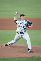 Augusta GreenJackets starting pitcher D.J. Myers (35) in action against the Kannapolis Intimidators at Kannapolis Intimidators Stadium on May 3, 2017 in Kannapolis, North Carolina.  The Intimidators defeated the GreenJackets 7-4.  (Brian Westerholt/Four Seam Images)