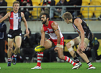 Sydney's Adam Goodes in action during the Australian Rules Football ANZAC Day match between St Kilda Saints and Sydney Swans at Westpac Stadium, Wellington, New Zealand on Thursday, 24 May 2013. Photo: Dave Lintott / lintottphoto.co.nz