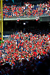 11 October 2012: Washington Nationals fans cheers the team on during Postseason Playoff Game 4 of the National League Divisional Series against the St. Louis Cardinals at Nationals Park in Washington, DC. The Nationals defeated the Cardinals 2-1 on a 9th inning, walk-off solo home run by Jayson Werth, tying the Series at 2 games apiece. Mandatory Credit: Ed Wolfstein Photo