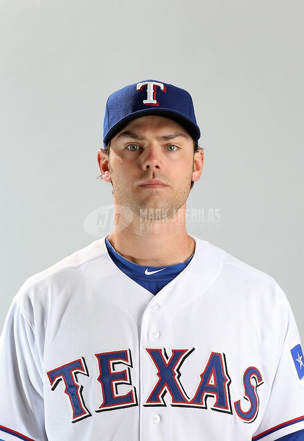 Feb. 20, 2013; Surprise, AZ, USA: Texas Rangers pitcher Neal Cotts poses for a portrait during photo day at Surprise Stadium. Mandatory Credit: Mark J. Rebilas-