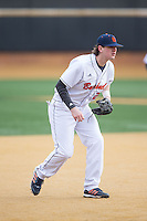 Bucknell Bison third baseman Sam Clark (26) on defense against the Georgetown Hoyas at Wake Forest Baseball Park on February 14, 2015 in Winston-Salem, North Carolina.  The Hoyas defeated the Bison 8-5.  (Brian Westerholt/Four Seam Images)