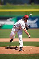 Ball State Cardinals starting pitcher Evan Marquardt (44) delivers a pitch during a game against the Louisville Cardinals on February 19, 2017 at Spectrum Field in Clearwater, Florida.  Louisville defeated Ball State 10-4.  (Mike Janes/Four Seam Images)