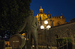 Cathedral church in Jerez de la Frontera, Cadiz province, Spain with Tio Pepe statue at night