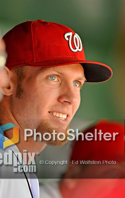 12 April 2012: Washington Nationals pitcher Stephen Strasburg watches Opening Day pre-game festivities prior to a game against the Cincinnati Reds at Nationals Park in Washington, DC. The Nationals defeated the Reds 3-2 in 10 innings to take the first game of their 4-game series. Mandatory Credit: Ed Wolfstein Photo