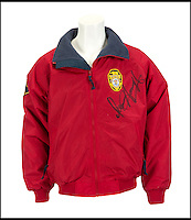 BNPS.co.uk (01202 558833)<br /> Pic: Juliens/BNPS<br /> <br /> ***Please use full byline***<br /> <br /> Signed and worn Baywatch jacket. <br /> <br /> The futuristic talking sportscar driven by TV legend David Hasselhoff in cult show Knight Rider is among a &pound;100,000 archive of the star's possessions up for sale.<br /> <br /> Hasselhoff has also put his iconic red lifeguard jacket from hit programme Baywatch on the market alongside a bizarre, oversized statue of himself.<br /> <br /> The actor, known as The Hoff, shot to fame in 1982 in Knight Rider as crime fighter Michael Knight.<br /> <br /> Knight's partner was an artificially intelligent supercar called Knight Industries Two Thousand - or KITT for short.