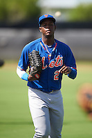 GCL Mets Grabiel Jimenez (2) during warmups before the first game of a doubleheader against the GCL Astros on August 5, 2016 at Osceola County Stadium Complex in Kissimmee, Florida.  GCL Astros defeated the GCL Mets 4-1 in the continuation of a game started on July 21st and postponed due to inclement weather.  (Mike Janes/Four Seam Images)