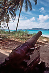British Virgin Islands, Old canon, Pirate history, beach, Tortola Island, Jost Vandyke in the distance, Virgin Island Archepeligo, Greater Antilles, West Indies, Caribbean Sea,