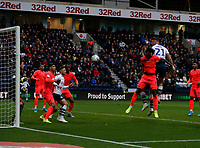 9th November 2019; Deepdale Stadium, Preston, Lancashire, England; Championship Football, Preston North End versus Huddersfield Town; Patrick Bauer of Preston North End  climbs above Trevoh Chalobah of Hudderfield Town to put in a header on goal - Strictly Editorial Use Only. No use with unauthorized audio, video, data, fixture lists, club/league logos or 'live' services. Online in-match use limited to 120 images, no video emulation. No use in betting, games or single club/league/player publications