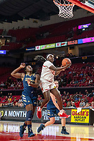 COLLEGE PARK, MD - NOVEMBER 20: Ashley Owusu #15 of Maryland goes up for a shot during a game between George Washington University and University of Maryland at Xfinity Center on November 20, 2019 in College Park, Maryland.