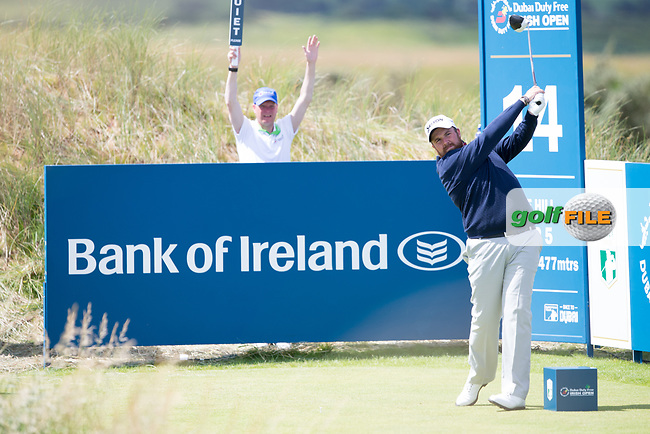Shane Lowry (IRL) on the 14th tee during the 3rd round at the Dubai Duty Free Irish Open hosted by the Rory Foundation, at Portstewart Golf Club, Portstewart, Co. Derry, Northern Ireland. 08/07/2017<br /> Picture: Golffile | Fran Caffrey<br /> <br /> <br /> All photo usage must carry mandatory copyright credit (&copy; Golffile | Fran Caffrey)