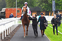 Winner of The Shadwell Racing Excellence Apprentice Handicap Div 1 Another Boy ridden by Charlotte Bennett  and trained by Ralph Beckett is led into the Winner's enclosure during Horse Racing at Salisbury Racecourse on 14th August 2019