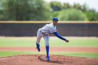 AZL Royals starting pitcher Delvin Capellan (14) delivers a pitch during an Arizona League game against the AZL Padres 1 at Peoria Sports Complex on July 4, 2018 in Peoria, Arizona. The AZL Royals defeated the AZL Padres 1 5-4. (Zachary Lucy/Four Seam Images)