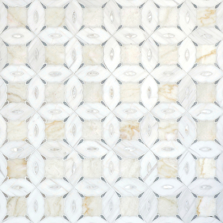 Sebastian small, a  waterjet stone mosaic, shown in polished Cloud Nine, Dolomite, Ming Green, and Shell.