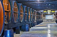 Oak barrel aging and fermentation cellar. JM Jose Maria da Fonseca, Azeitao, Setubal, Portugal