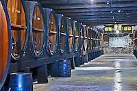 Oak barrel aging and fermentation cellar. JM Jose Maria da Fonseca, Azeitao, Setubal, Portugal