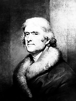 Thomas Jefferson.  Copy of painting by Rembrandt Peale, ca.  1805.  (OWI)<br /> Exact Date Shot Unknown