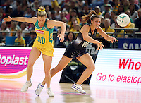 09.10.2016 Silver Ferns Grace Rasmussen and Australia's Gabi Simpson in action during the Silver Ferns v Australia netball test match played at Qudos Bank Arena in Sydney. Mandatory Photo Credit ©Michael Bradley.