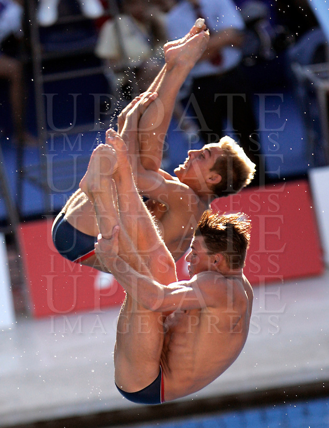 United States' Troy Dumais and Kristian Ipsen compete in the men 3-meter synchro springboard diving finals at the Swimming World Championships in Rome, 18 July 2009..UPDATE IMAGES PRESS/Riccardo De Luca