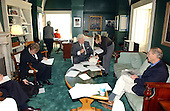 "Washington, D.C. - October 18, 2001 -- United States Senator Edward M. ""Ted"" Kennedy (Democrat of Massachusetts) works with his staff in his United States Capitol ""hideaway"" office in Washington, D.C. while their regular office in the Russell Senate Office Building is being checked for Anthrax on October 18, 2001..Credit: Ron Sachs / CNP"