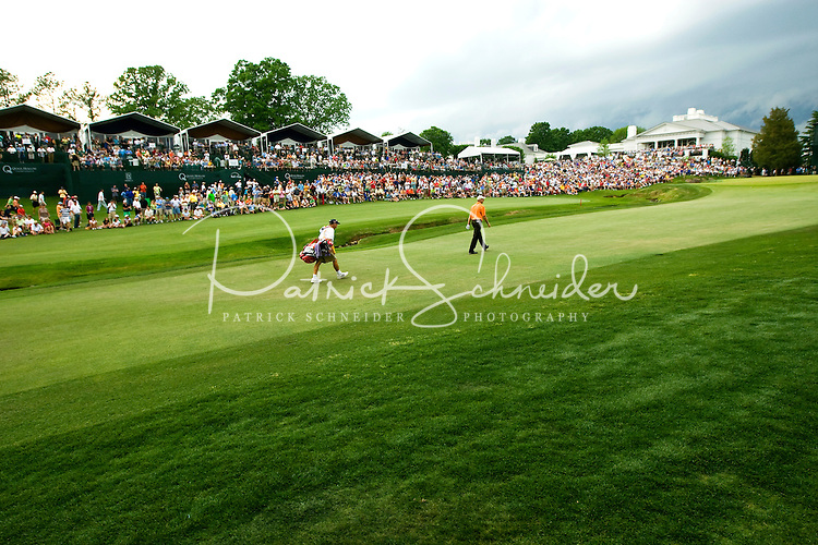 "Golfer Jim Furyk and caddie Mike ""Fluff"" Cowan make their way up the18th fairway during the Quail Hollow Championship golf tournament 2009. The event, formerly called the Wachovia Championship, is a top event on the PGA Tour, attracting such popular golf icons as Tiger Woods, Vijay Singh and Bubba Watson. The third round in the Quail Hollow Championship golf tournament at the Quail Hollow Club in Charlotte, N.C., Saturday, May 02, 2009."