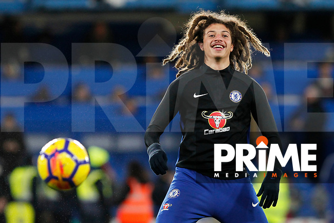 Ethan Ampadu of Chelsea warming up during the Premier League match between Chelsea and Bournemouth at Stamford Bridge, London, England on 31 January 2018. Photo by Carlton Myrie / PRiME Media Images.