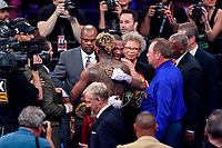 Fairfax, VA - May 11, 2019: Julian Williams and Jarrett Hurd hug after their Jr. Middleweight title fight at Eagle Bank Arena in Fairfax, VA. Julian Williams defeated Hurd to take home the IBF, WBA and IBO Championship belts by unanimous decision. (Photo by Phil Peters/Media Images International)