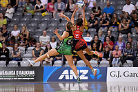 Pulse' Claire Kersten and Tactix' Kimiora Poi in action during the ANZ Premiership - Pulse v Tactix at Fly Palmy Arena, Palmerston North, New Zealand on Sunday 10 March 2019. <br /> Photo by Masanori Udagawa. <br /> www.photowellington.photoshelter.com