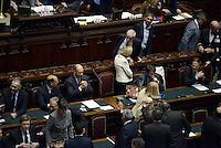 Roma, 29 Aprile 2013.Camera dei Deputati.Il Governo Letta chiede la fiducia alla Camera dei Deputati..Nella foto i banchi dei Ministri dopo il discorso di Enrico Letta