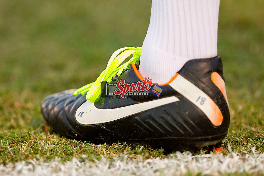 The Wake Forest Demon Deacons men's soccer team wore green shoelaces in honor of Pediatric Cancer Awareness at Spry Soccer Stadium on September 28, 2011 in Winston-Salem, North Carolina.  The Demon Deacons defeated the Wildcats 4-1.  (Brian Westerholt / Sports On Film)