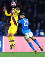 25th February 2020; Stadio San Paolo, Naples, Campania, Italy; UEFA Champions League Football, Napoli versus Barcelona; Antoine Griezmann of Barcelona wins the header from Giovanni Di Lorenzo of Napoli
