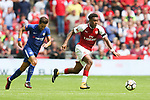 Alex Iwobi of Arsenal and Cesc Fabregas of Chelsea during the The FA Community Shield match at Wembley Stadium, London. Picture date 6th August 2017. Picture credit should read: Charlie Forgham-Bailey/Sportimage