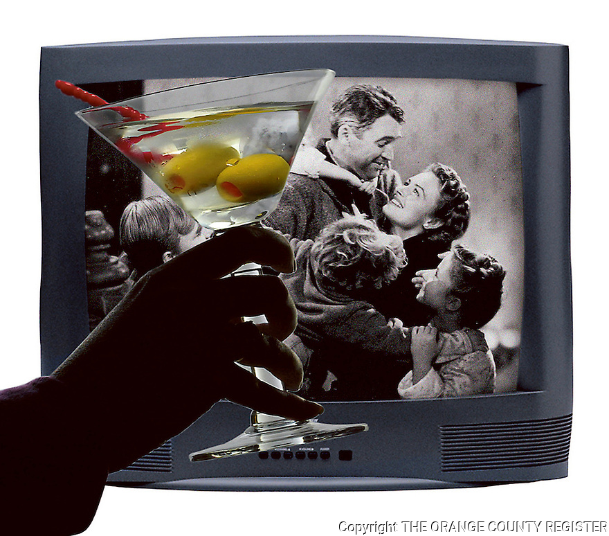 Holiday movies and what to drink with them.  A Franklin Style Martini in front of 'It's a Wonderful Life'.