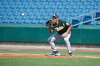 Nicholas Yarnall #40 of Hempfield High School in Landisville, Pennsylvania playing for the Oakland Athletics scout team during the East Coast Pro Showcase at Alliance Bank Stadium on August 4, 2012 in Syracuse, New York.  (Mike Janes/Four Seam Images)