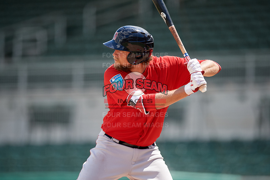 Boston Red Sox left fielder Trey Ball (57) at bat during a Florida Instructional League game against the Baltimore Orioles on September 21, 2018 at JetBlue Park in Fort Myers, Florida.  (Mike Janes/Four Seam Images)