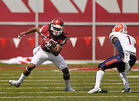 NWA Democrat-Gazette/BEN GOFF @NWABENGOFF<br /> Keon Hatcher, Arkansas wide receiver, evades UTEP cornerback Trent Trammell on Saturday Sept. 5, 2015 during the first quarter of the game in Razorback Stadium in Fayetteville.