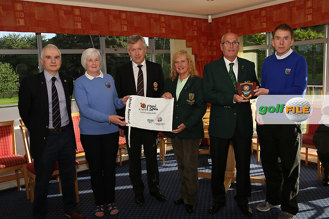 Mahee Island Officials accept Runner up prize after the Ulster Mixed Foursomes Final, Shandon Park Golf Club, Belfast. 19/08/2016<br /> Picture Jenny Matthews / Golffile.ie<br /> <br /> All photo usage must carry mandatory copyright credit (&copy; Golffile | Jenny Matthews)