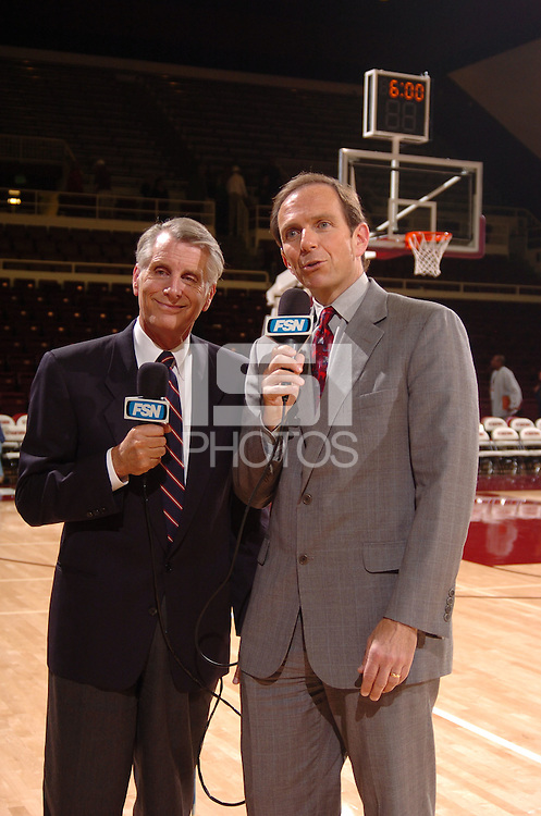 23 November 2005: Fox media, including Ted Robinson, during Stanford's 71-56 win over USF at Maples Pavilion in Stanford, CA.