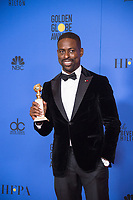 After winning the category of BEST PERFORMANCE BY AN ACTOR IN A TELEVISION SERIES &ndash; DRAMA for his role in &quot;This Is Us,&quot; actor Sterling K. Brown poses backstage in the press room with his Golden Globe Award at the 75th Annual Golden Globe Awards at the Beverly Hilton in Beverly Hills, CA on Sunday, January 7, 2018.<br /> *Editorial Use Only*<br /> CAP/PLF/HFPA<br /> &copy;HFPA/PLF/Capital Pictures