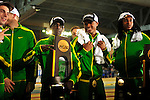 12 MAR 2016:   Edward Cheserek of the University of Oregon holds the team championship trophy after the Division I Men's Indoor Track & Field Championship held at the Crossplex in Birmingham, Al. Tom Ewart/NCAA Photos