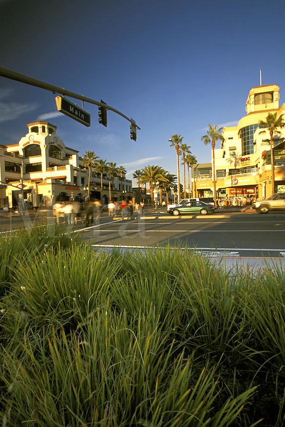 Main Street and Pacific Coast Highway.  Huntington Beach, California.