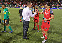 Portland, OR - Saturday August 19, 2017: Mark Parsons, Christine Sinclair during a regular season National Women's Soccer League (NWSL) match between the Portland Thorns FC and the Houston Dash at Providence Park.