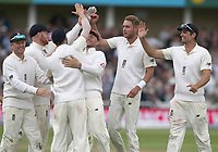 England's Stuart Broad (second from right) celebrates taking the wicket of South Africa's Hashim Amla<br /> <br /> Photographer Stephen White/CameraSport<br /> <br /> Investec Test Series 2017 - Second Test - England v South Africa - Day 1 - Friday 14th July 2017 - Trent Bridge - Nottingham<br /> <br /> World Copyright &copy; 2017 CameraSport. All rights reserved. 43 Linden Ave. Countesthorpe. Leicester. England. LE8 5PG - Tel: +44 (0) 116 277 4147 - admin@camerasport.com - www.camerasport.com