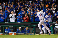 Chicago Cubs Kris Bryant (17) rounds the bases after hitting a home run in the fourth inning during Game 5 of the Major League Baseball World Series against the Cleveland Indians on October 30, 2016 at Wrigley Field in Chicago, Illinois.  (Mike Janes/Four Seam Images)